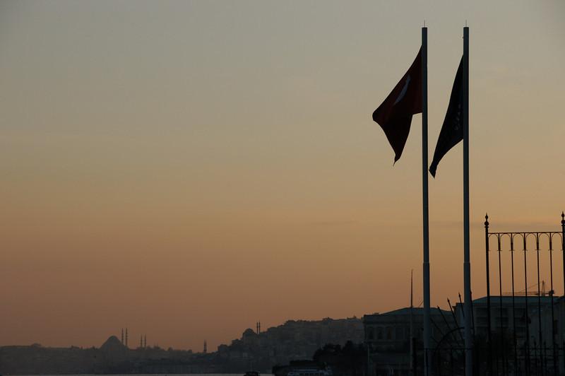 Turkish flags at dusk, Ortakoy district of Istanbul, Turkey.