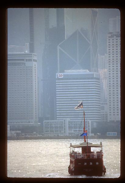 Boat on Victoria harbor, Hong Kong, China.