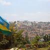 Kigali skyline and the national flag, Rwanda.
