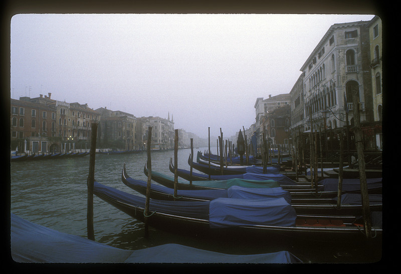 Gondolas on the Grand Canal, Venice, Italy.