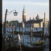 Gondola wharf, with views across to San Giorgio Maggiore, Venice, Italy.