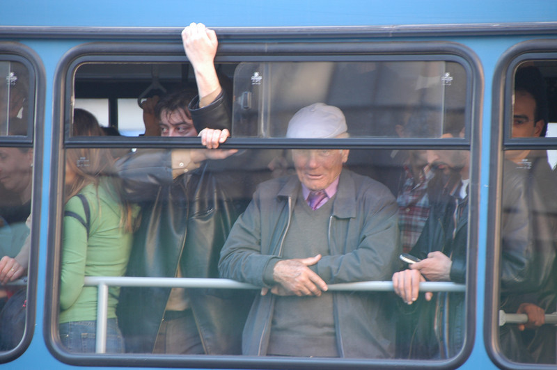 Mass transit, bus and passengers, Istanbul, Turkey.