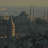 Galata Tower, foreground, Istanbul, Turkey.