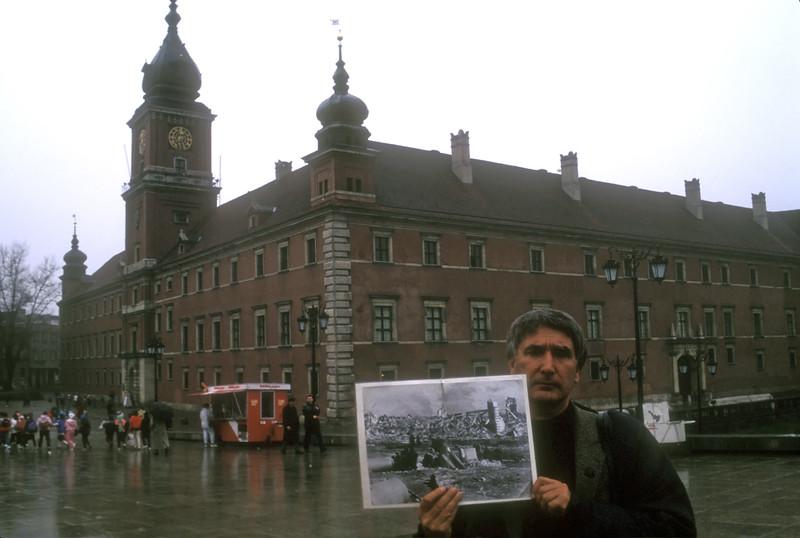 Warsaw, Poland, 1991 and photo of prior war damage.