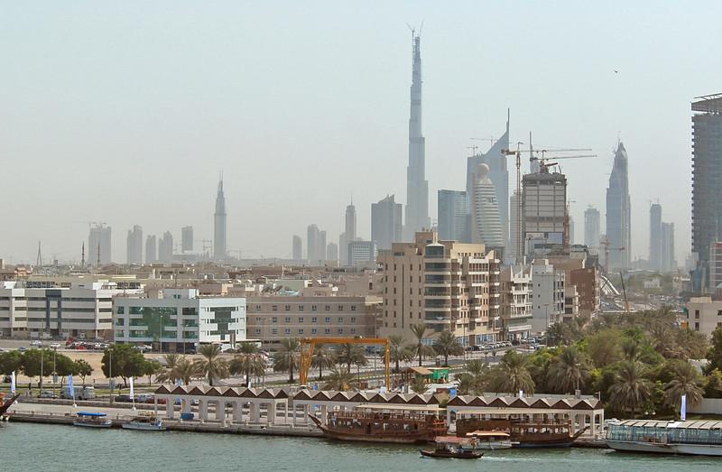 Dubai, United Arab Emirates, skyline, including Burj Dubai (currently the world's tallest building due to be 2684 feet - 707 meters - on completion) and Dubai Creek, or Khor Dubai.