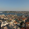 The Golden Horn, foreground, meets the Bosphorus Strait, Istanbul, Turkey.
