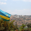 Skyline and national flag, Kigali, capital of Rwanda.