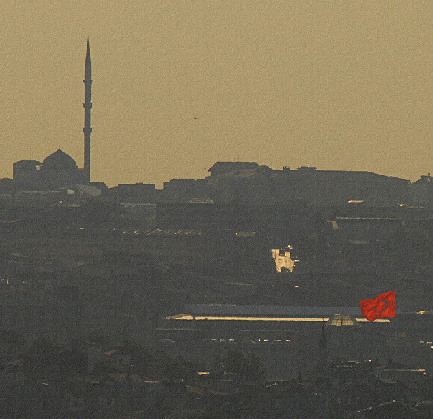Longer view, late afternoon with flag, Istanbul.