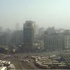 Cairo, Egypt bus station and skyline.