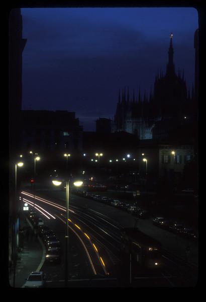 The Duomo di Milano, Milan, Italy, at dusk.