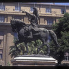 Statue of Albanian national hero Skanderbeg on Skanderbeg Square, Tirana, Albania.