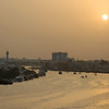 The creek, or Khor Dubai, at sundown, Dubai, United Arab Emirates.