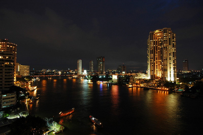 Chao Praya river at night, Bangkok, Thailand.
