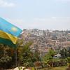 Kigali, Rwanda and the Rwandan national flag.