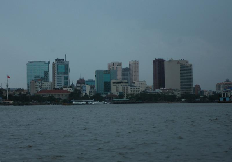 Saigon, Vietnam skyline, monsoon season.