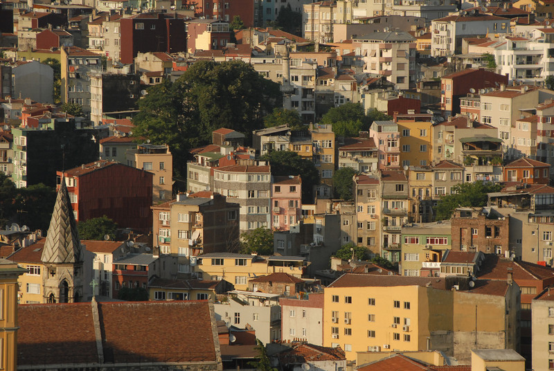 Detail of Beyoglu district, Istanbul. In the 1800's, Beyoglu was the newer, European district, on the north bank of the Golden Horn.