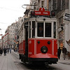 Trolley on Istiklal Caddesi (Independence Avenue), the main predominantly pedestrian shopping street, Istanbul, Turkey.