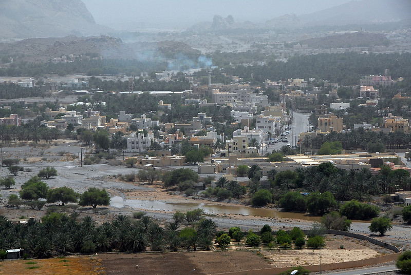 Rain the day before causes flooding in interior Oman.