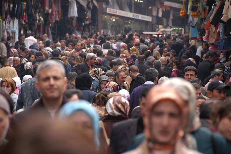 Pedestrian shopping street, historic district, Istanbul, Turkey.