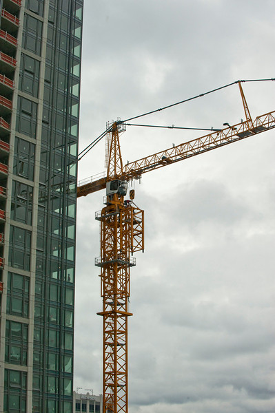 View from my new office, recording the crane on the building next door being dismantled.