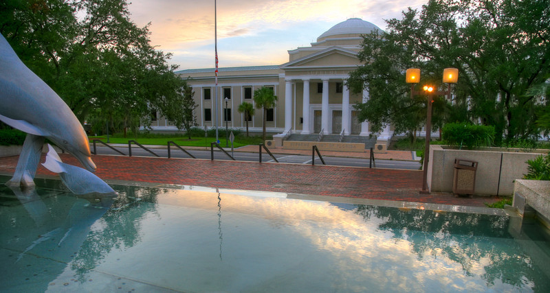 The Supreme Court viewed from the west side of the Capital.  Sculpture and fountain in forground.