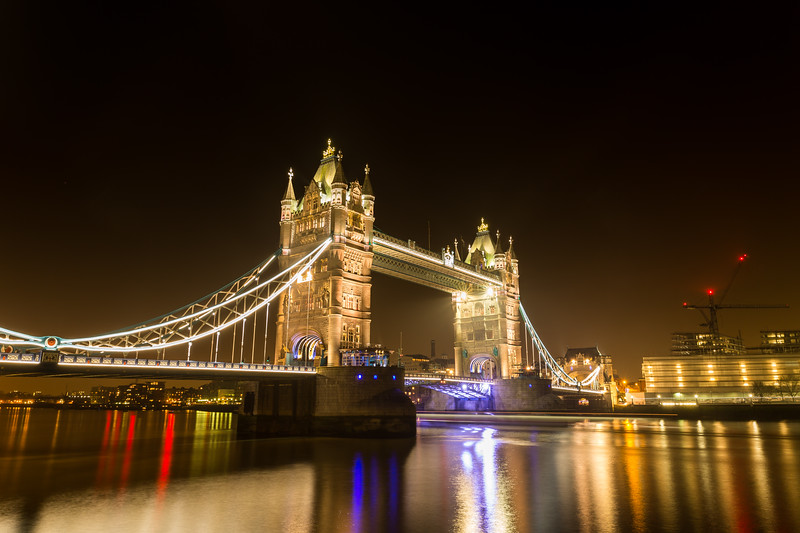 Tower bridge at night.