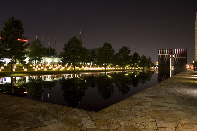 Stock photo of the west gate of the Oklahoma City National Memorial.  This memorial honors the victims and all who were changed forever on April 19, 1995.