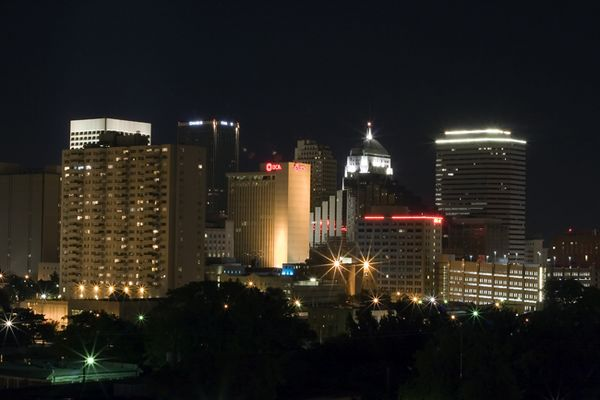 Oklahoma City at night.  Looking southeast.