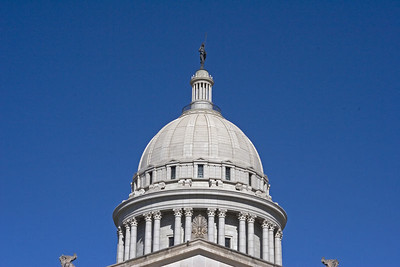 "The State of Oklahoma capitol dome with the ""Guardian"" statue on top."
