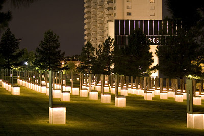 Stock photo of the 168 chairs at the Oklahoma City National Memorial.