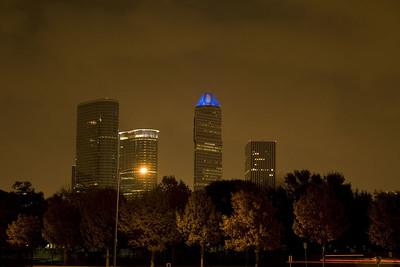 Stock photo of the Houston skyline at night.