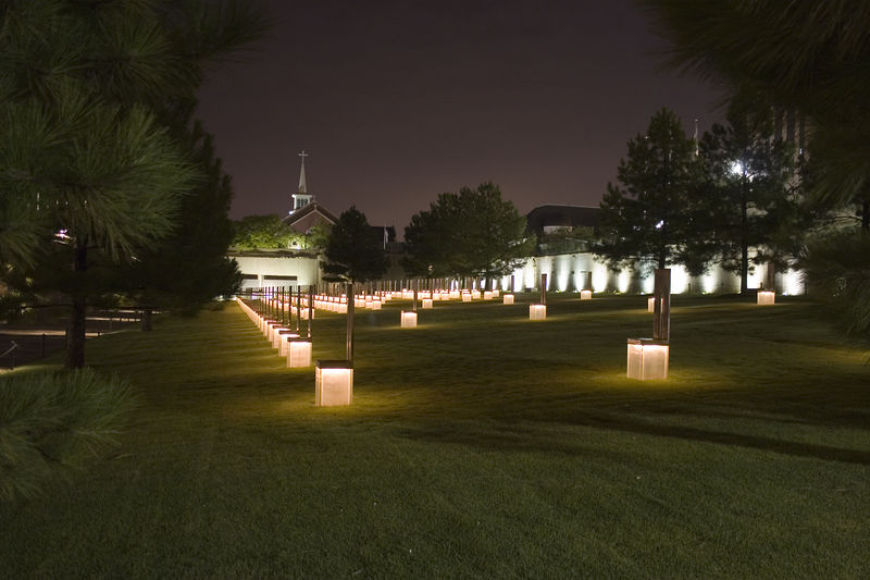 Stock photo of the 168 chairs at the Oklahoma City National Memorial.  Each chair represents one life lost on April 19, 1995.