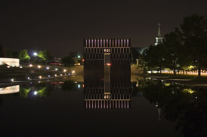 Stock photo of the east gate of the Oklahoma City National Memorial.  This signifies the innocence of the city before the attack.