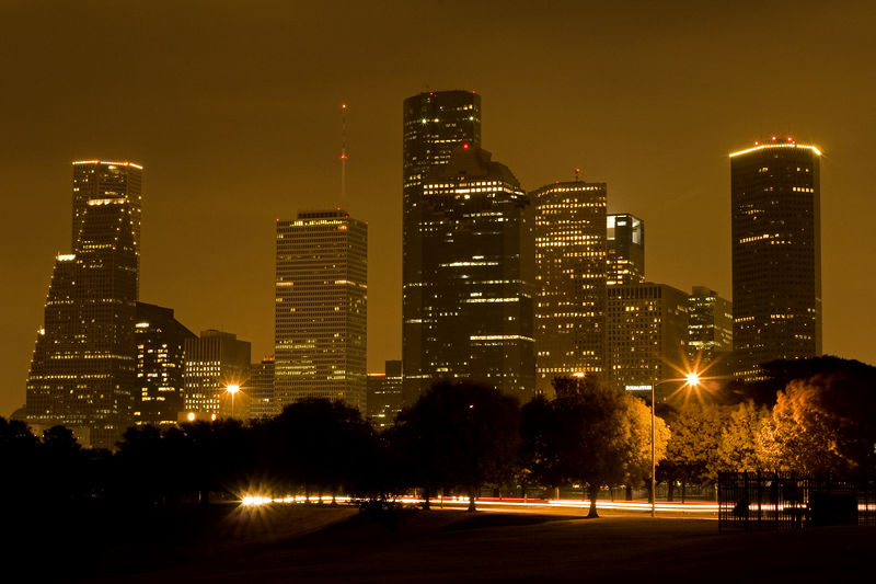 Stock photo of the Houston skyline at night.