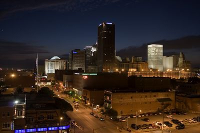 Oklahoma City at night.  Looking west.