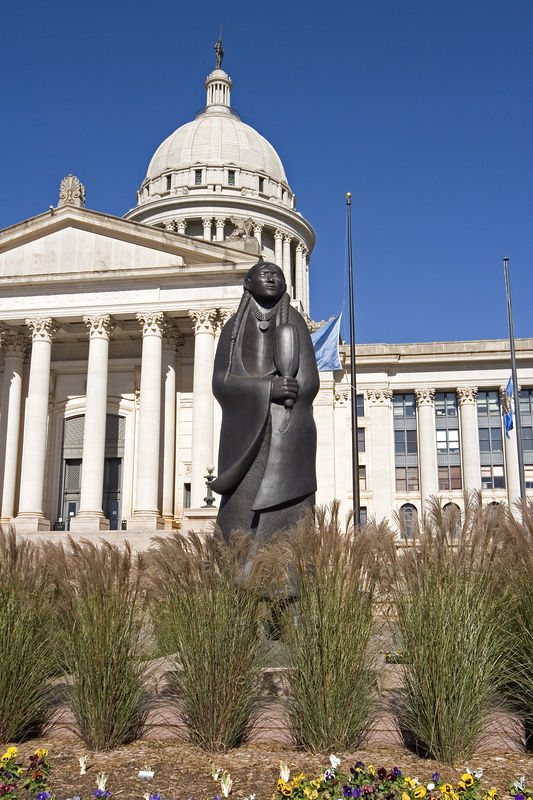 "Sculpture in front of the Oklahoma State Capitol entitled ""As Long As the Waters Flow"""