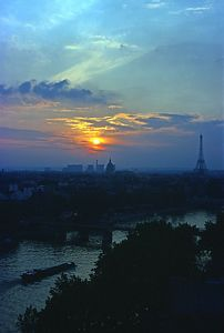 Paris sunset with Seine and Eiffel Tower