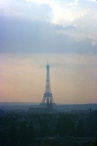 Eiffel Tower near sunset