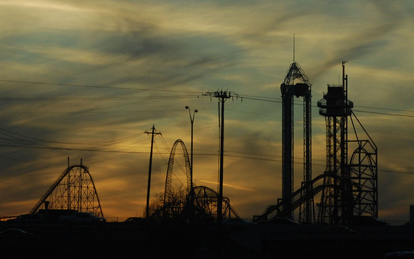 High Ride at Sunset<br /> <br /> <br /> Six Flags over Texas, Arlington, TX <br /> Taken from the 360 freeway.<br /> <br /> (c)2010 skElliottPhotography.com