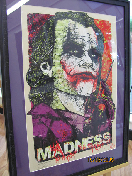 """""""Madness, all it takes is a little push..."""" Heath Ledger's Joker in an amazing hand numbered and signed limited edition screen print."""