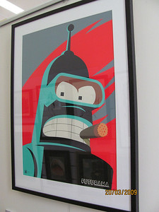 Bender from Futurama in a big and bold silkscreen print from FOX studios! Limited edition of 300.
