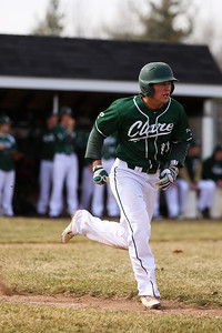 Ken Kadwell/@KenKadwell - Special to the Sun Clare's Charlie Bugbee sprints to first base against Shepherd at Clare Thursday, April 10, 2014.
