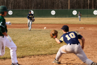 Ken Kadwell/@KenKadwell - Special to the Sun Shepherds Ryan Cline throws the ball to Mason Branigan (10) before Clare's Jordan Gross can reach first base at Clare Thursday, April 10, 2014.