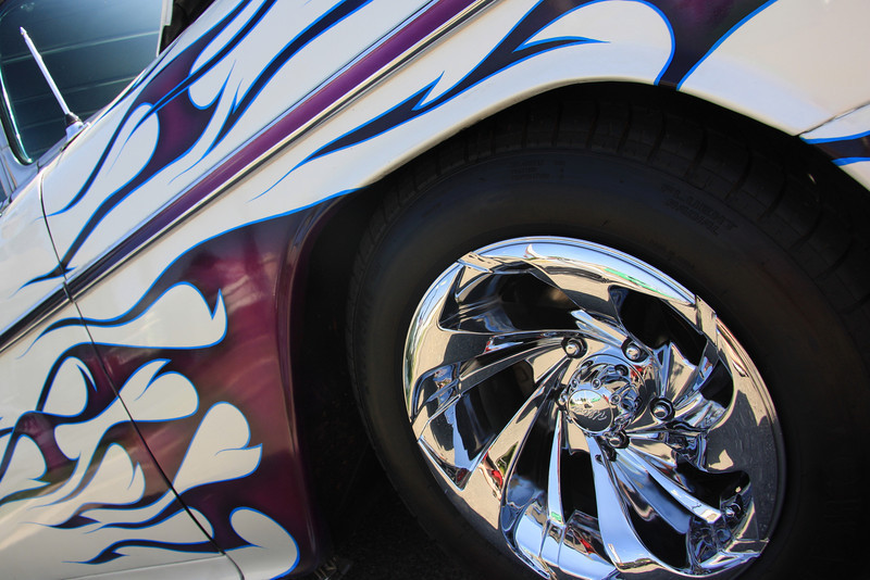 Stylin'_ Flames and custom wheels help this Chevy Nomad stand out at the Arroyo Valley Car Sho.