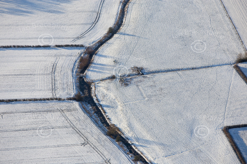 Aerial photo of an English Civil War Earthwork near Newark in Nottinghamshire.