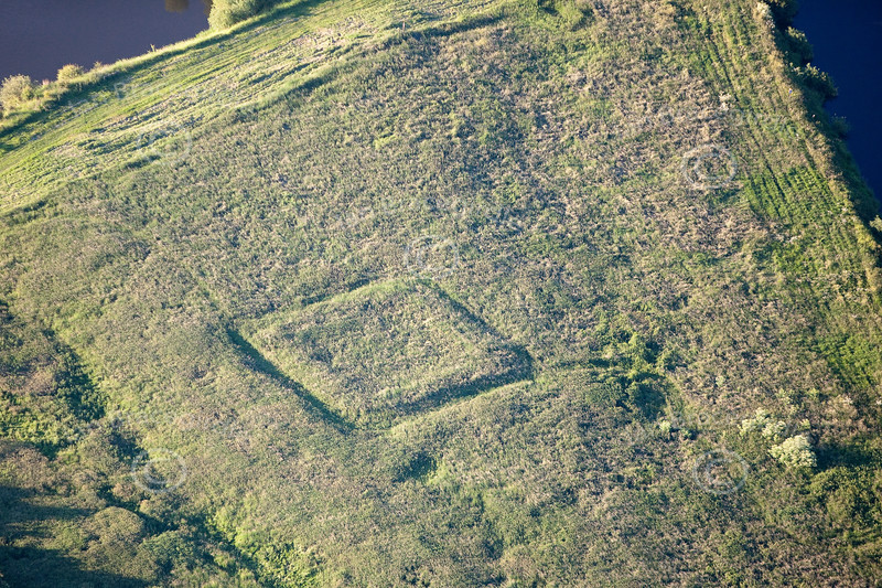 An aerial photo of the English Civil War earthworks known as Crankley Point in Newark, Nottinghamshire.