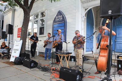 The Wildcat Bogstompers entertain with their bluegrass music in front of the Spire to conclude the day long activities of the 1st  Saturday Downtown Plymouth. Wicked Local Photo/Denise Maccaferri