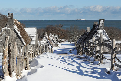Plymouth's first street may have looked like this the day after a snow storm in the early 17th Century.