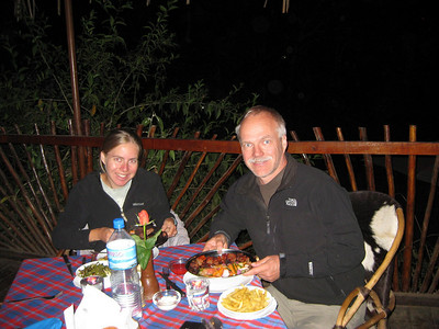 Celebration meal of grilled gazelle and wildebeest upon completion of climbing Mt. Meru