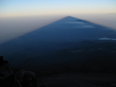 Early morning shadow of Mt. Meru more defined
